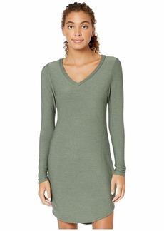 Chaser Cozy Knit Long Sleeve V-Neck Shirttail Mini Dress