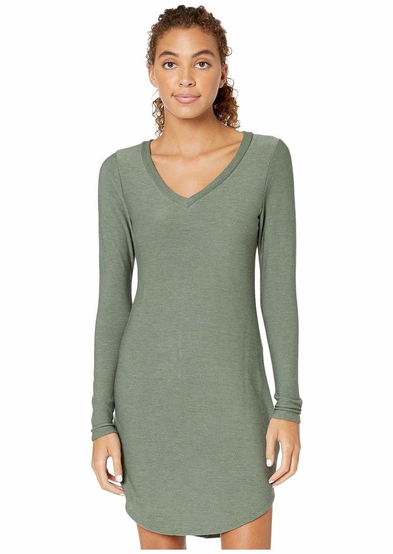 Cozy Knit Long Sleeve V-Neck Shirttail Mini Dress