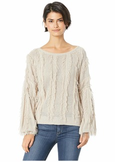 Chaser Cropped Wide Neck Blouson Sleeve Pullover Sweater