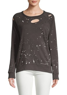 Chaser Distressed Raglan-Sleeve Cotton Pullover