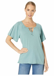 Chaser Gauzy Cotton Tie Front Flouncy Tee