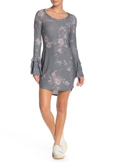 Chaser Layered Ruffle Sleeve Scoop Neck Knit Dress