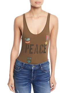 Chaser Love Badges Scoop-Neck Bodysuit