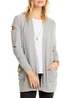 Chaser Love Cutout Long-Sleeve Knit Cardigan