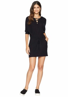 Chaser Love Knit Lace-Up Front Hooded Dolman Dress