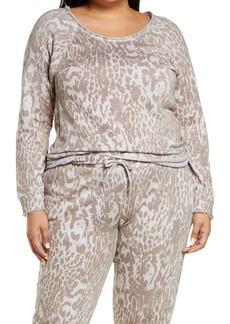 Plus Size Women's Chaser Animal Print Cotton & Linen Sweatshirt