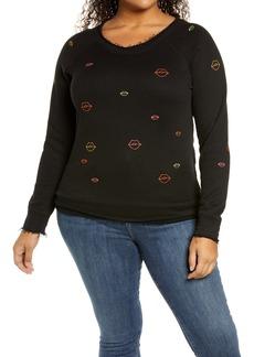 Plus Size Women's Chaser Neon Lips Sweatshirt