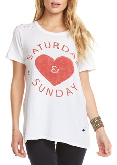 Chaser Saturday & Sunday Heart Graphic Tee