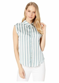 Chaser Silky Basic Cap Sleeve Tie Front Button Down Shirt