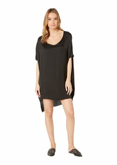 Chaser Silky Oversized High-Low Shirtdress