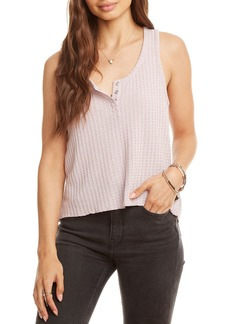 Chaser Sparkle Cropped Henley Thermal Henley Tank