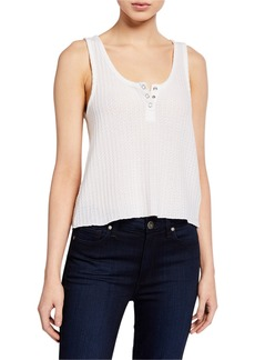 Chaser Sparkle Thermal Cropped Henley Tank