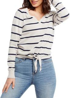 Chaser Striped Long-Sleeve Tie-Hem Cotton-Linen Sweater