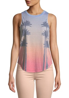 Chaser Sunset Palms Printed Muscle Tee