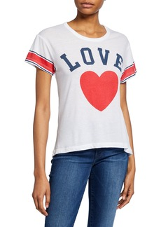 Chaser Team Love Striped Heart Graphic Tee