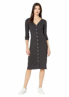 Chaser Tri-Blend Rib Snap Front Maxi Dress