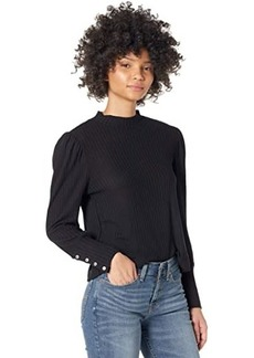Chaser Vintage Thermal Bishop Sleeve Cropped Mock Neck Tee
