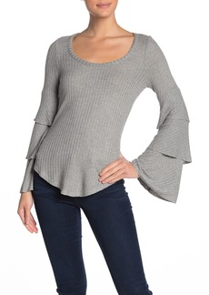 Chaser Waffle Knit Layered Bell Sleeve Top