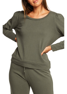 Women's Chaser Puff Sleeve Cotton Knit Pullover Top