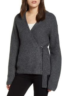 Chelsea28 Asymmetrical Belted Cardigan