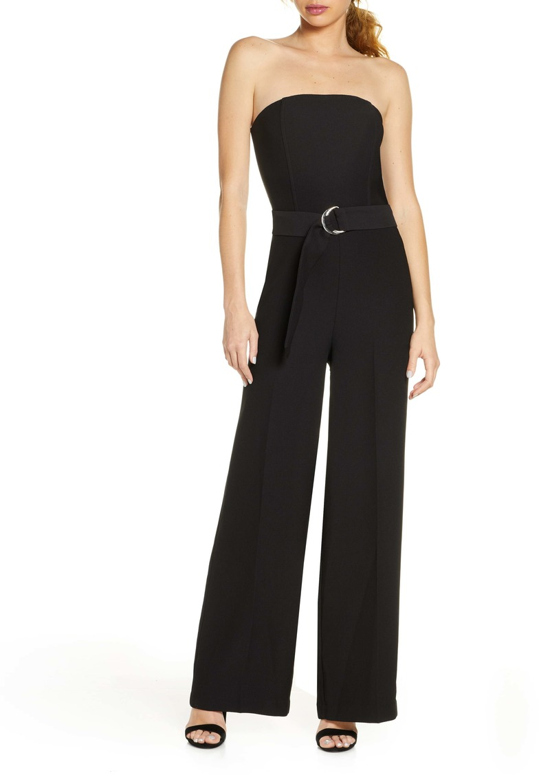 Chelsea28 Belted Strapless Jumpsuit