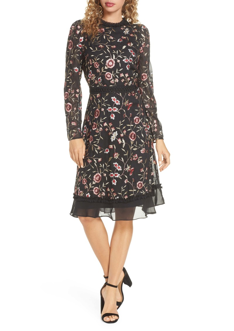 Chelsea28 Floral Embroidered Ruffle Long Sleeve Dress