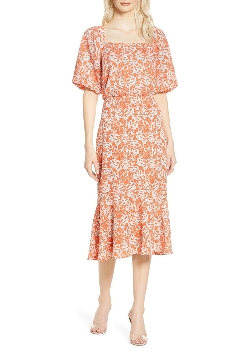 Chelsea28 Floral Print Blouson Midi Dress