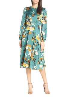 Chelsea28 Floral Print Long Sleeve Ruffle Neck Dress