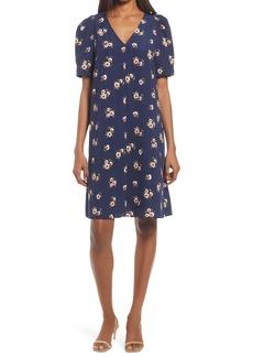 Chelsea28 Floral Puff Sleeve V-Neck Shift Dress