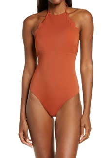 Chelsea28 High Neck Scalloped One-Piece Swimsuit