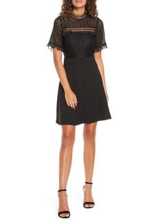Chelsea28 Lace Bodice Mock Neck Fit & Flare Dress (Regular & Petite)