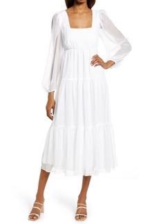 Chelsea28 Long Sleeve Chiffon Midi Dress