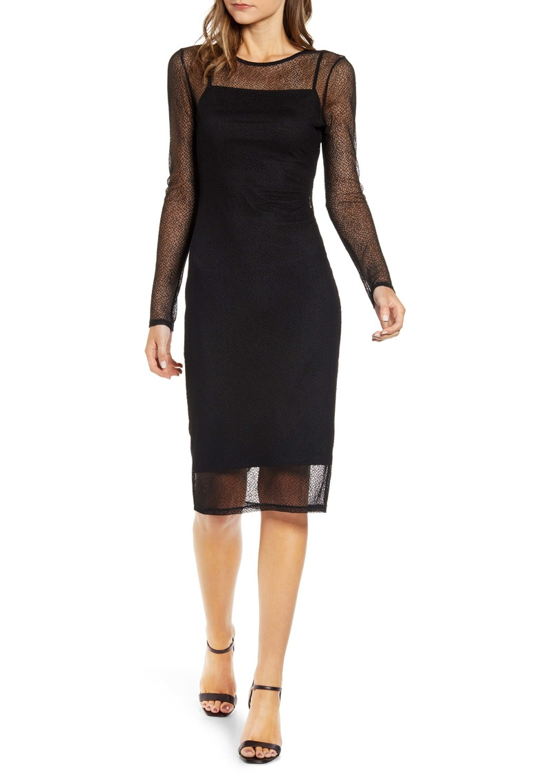 Chelsea28 Mesh Overlay Long Sleeve Dress