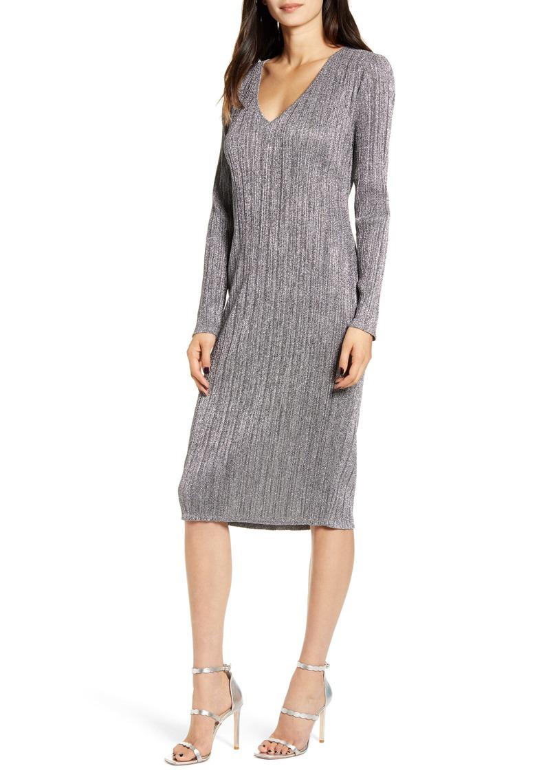 Chelsea28 Metallic Long Sleeve Sweater Dress
