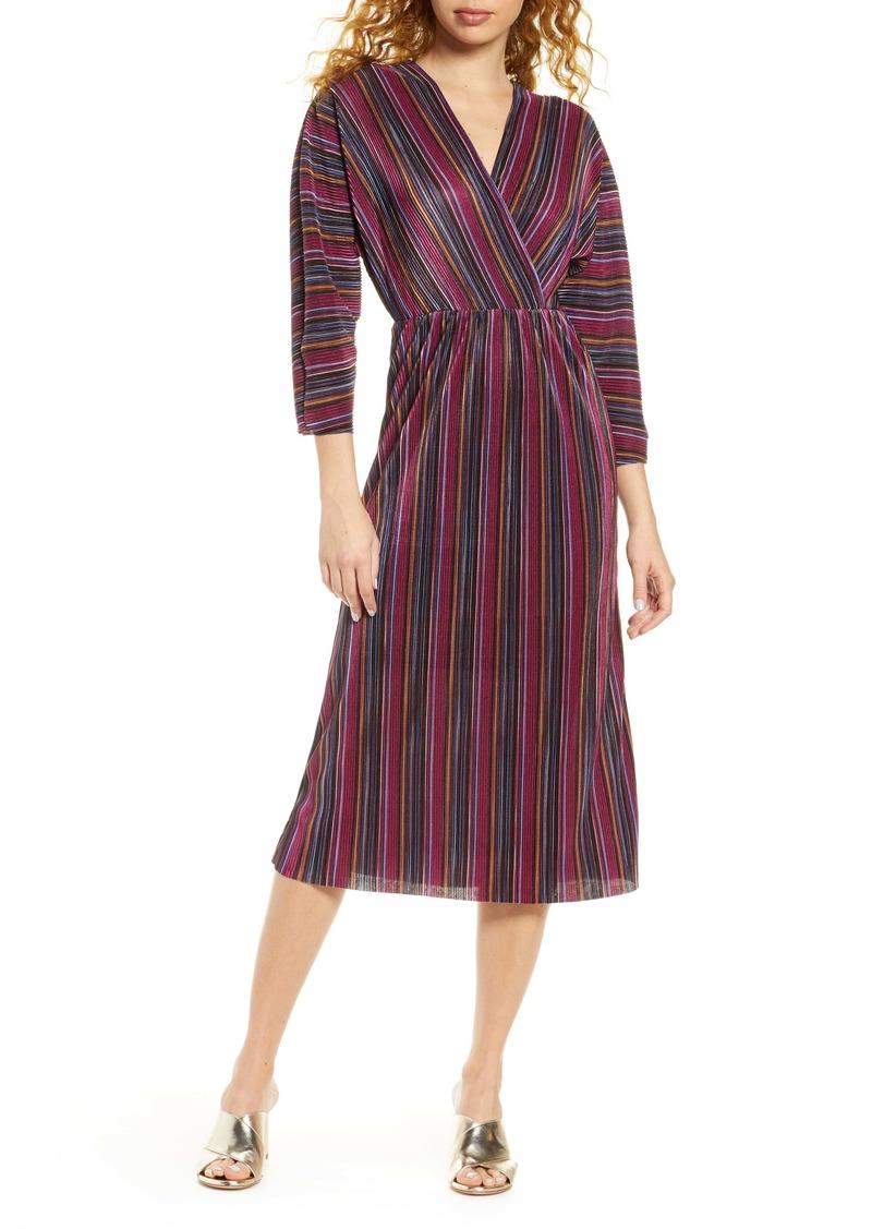 Chelsea28 Multicolor Stripe Plissé Faux Wrap Dress