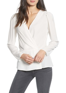 Chelsea28 Pleated Faux Wrap Top