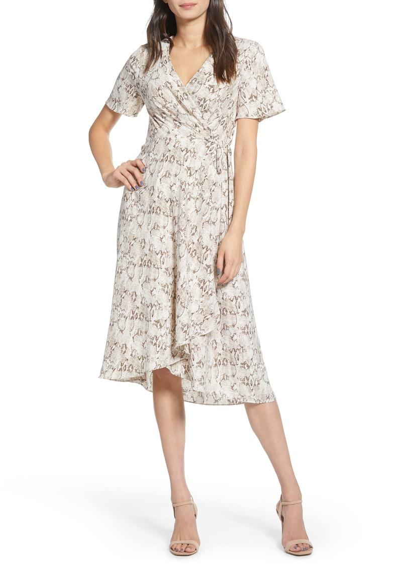 Chelsea28 Snake Print Short Sleeve Wrap Dress