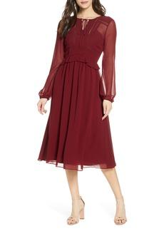 Chelsea28 Tie Neck Long Sleeve Georgette Midi Dress