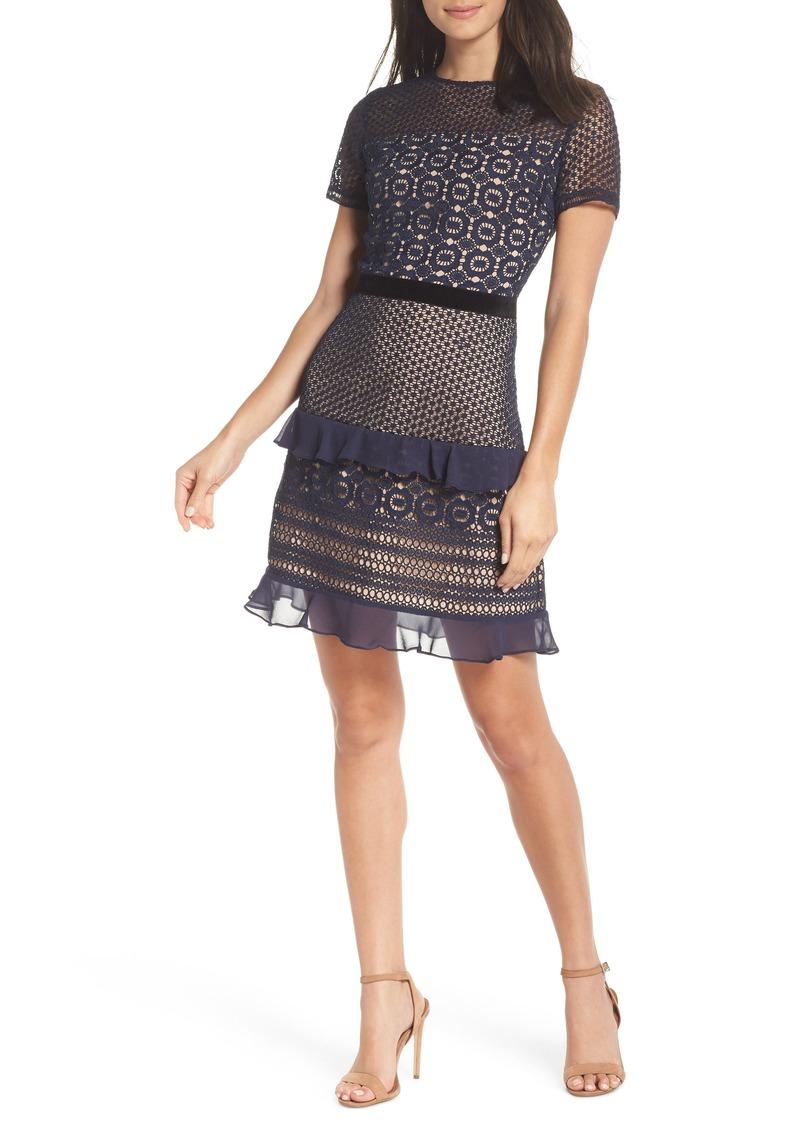 Chelsea28 Velveteen Belt Lace Sheath Dress