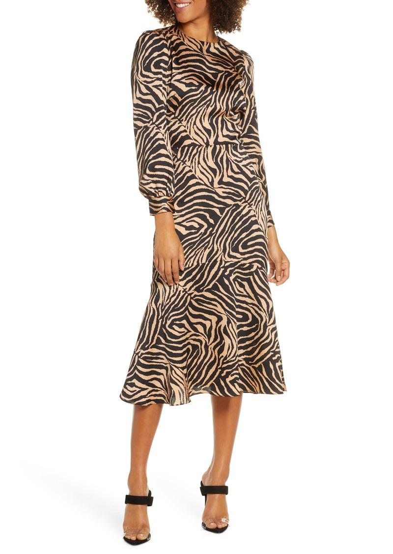 Chelsea28 Zebra Print Long Sleeve Midi Dress