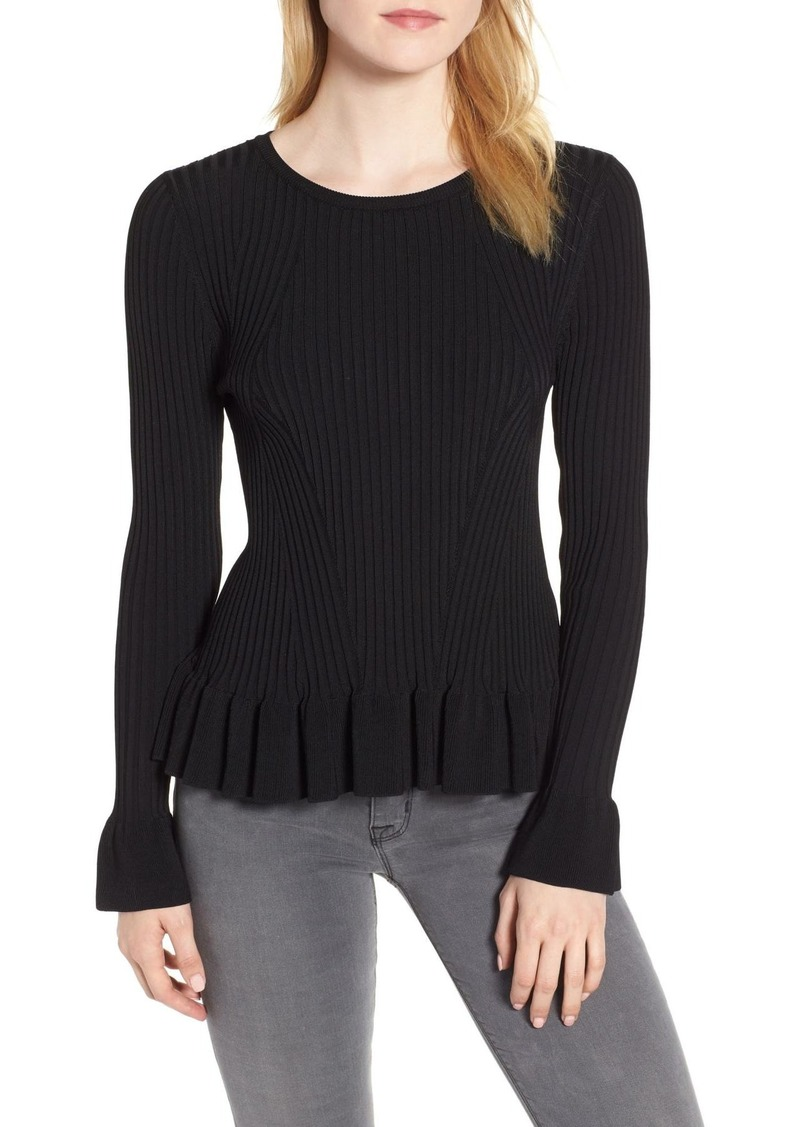 Chelsea28 Lightweight Ruffle Rib Knit Sweater