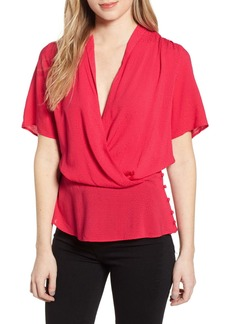 Chelsea28 Side Button Textured Satin Wrap Top