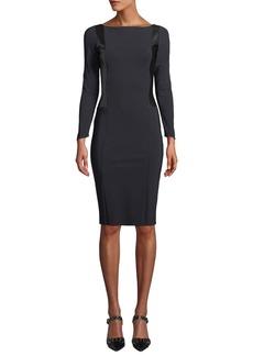 Chiara Boni La Petite Robe Accursia Body-Con Dress w/ Pleather Panels