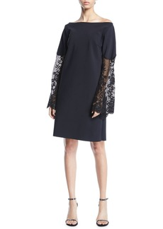 Chiara Boni La Petite Robe Alala Off-the-Shoulder Lace-Sleeve A-line Dress