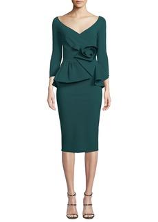 Chiara Boni La Petite Robe Almunda Peplum & 3D Flower Dress
