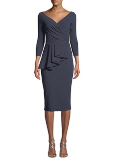 Chiara Boni La Petite Robe Ariane Pinstripe Peplum Wrap Dress
