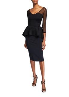 Chiara Boni La Petite Robe Arquette Illusion 3/4-Sleeve Peplum Cocktail Dress
