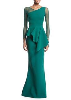 Chiara Boni La Petite Robe Chayon Illusion-Sleeve Asymmetric Peplum Gown
