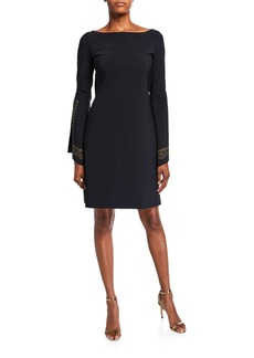 Chiara Boni La Petite Robe Boat-Neck Embellished Split-Sleeve A-Line Dress