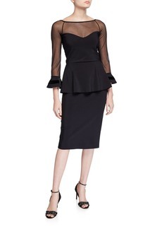 Chiara Boni La Petite Robe Boat-Neck Sheer-Yoke 3/4-Sleeve Illusion Dress w/ Velvet Stripe